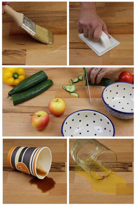 »OLI-NATURA Hartwachsöl« przyjazny dla osób z alergią i dopuszczony do kontaktu z żywnością.